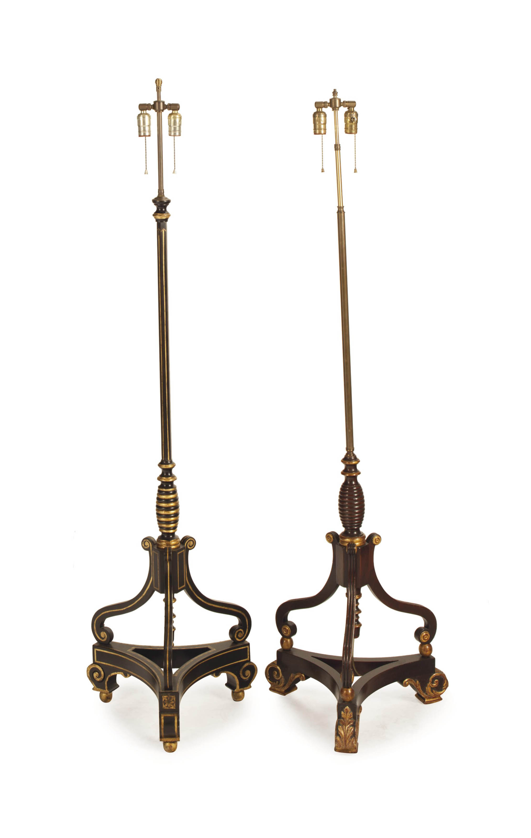 AN ENGLISH EBONIZED AND PARCEL