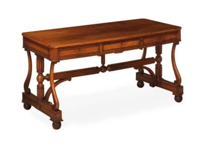 A REGENCY OAK LIBRARY TABLE,