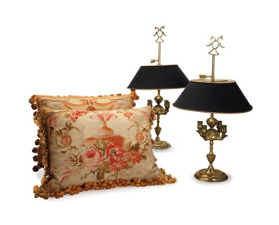 A PAIR OF BRASS BOUILLOTTE LAM