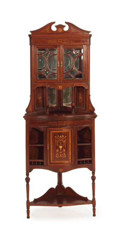 AN EDWARDIAN INLAID MAHOGANY C