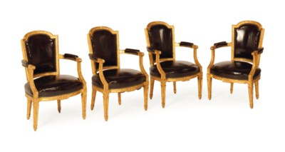 A SET OF FOUR GILTWOOD OPEN AR