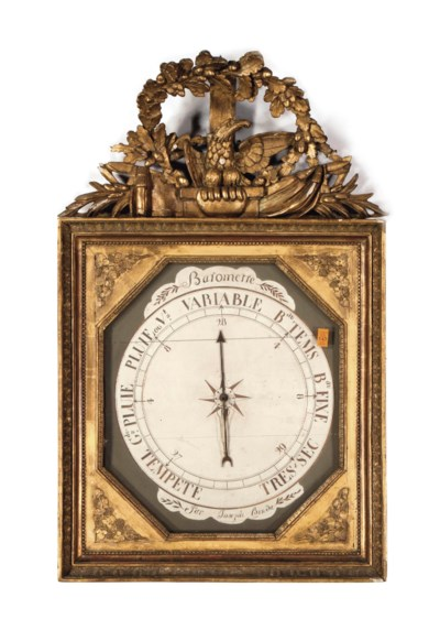 A FRENCH GILTWOOD BAROMETER,