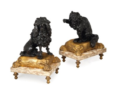 A PAIR OF FRENCH PATINATED, GI