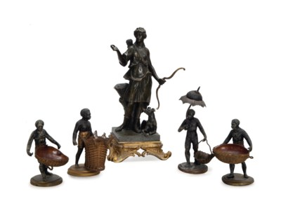 A GROUP OF FOUR FRENCH PAINTED