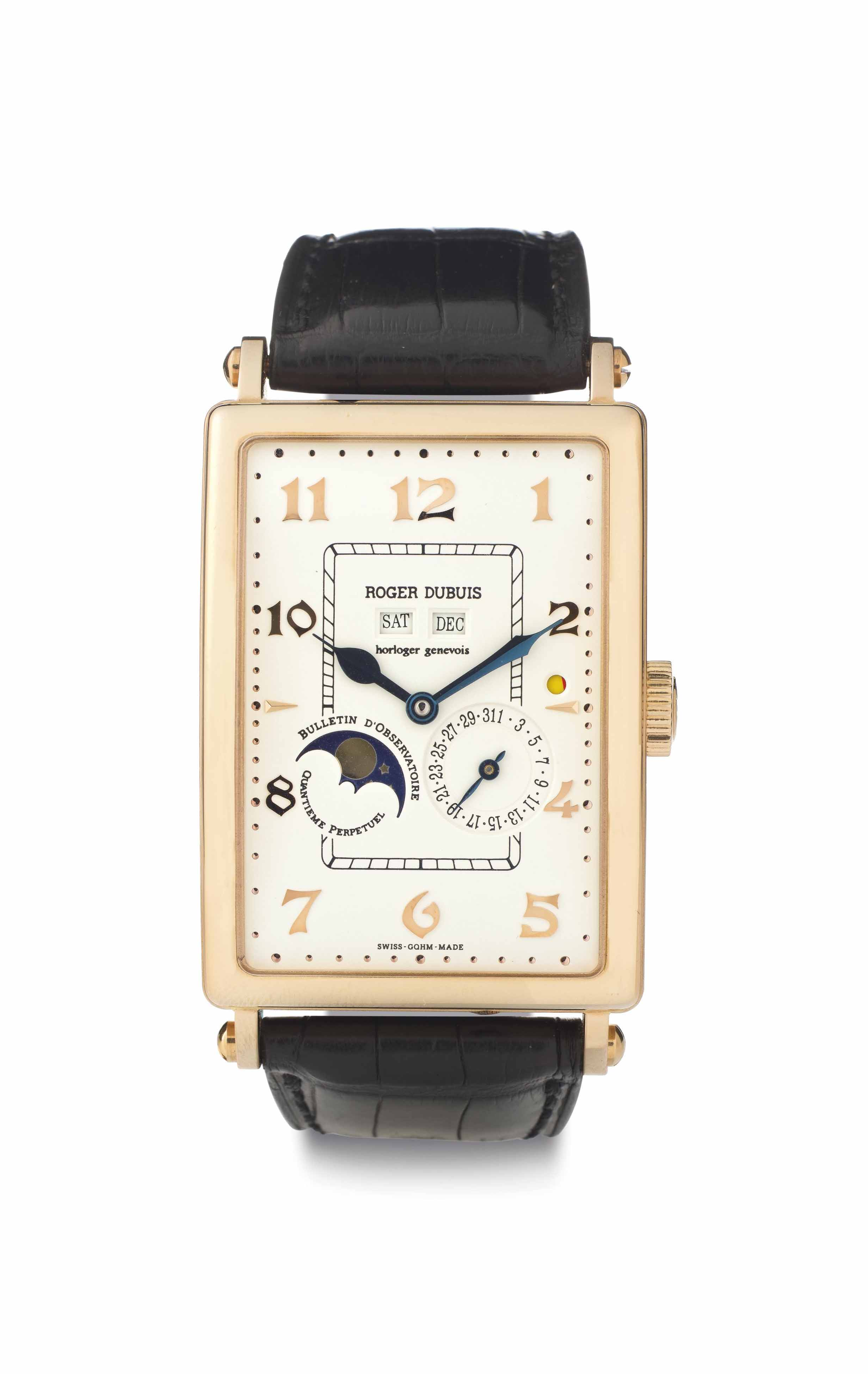 Roger Dubuis. A Limited Edition 18k Pink Gold Automatic Perpetual Calendar Wristwatch with Leap Year Indication and Moon Phases