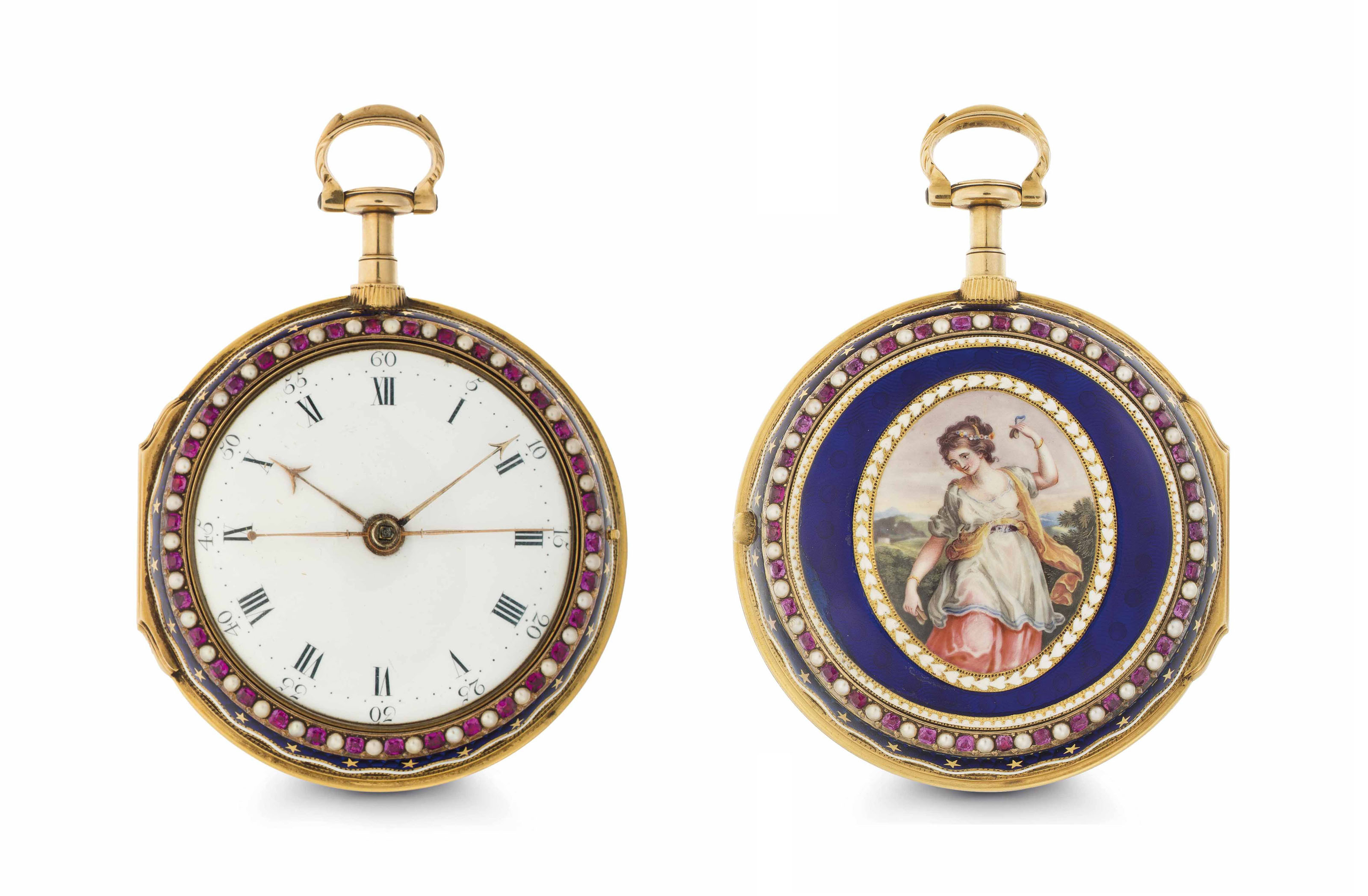 Francis Perigal. A Fine and Rare 18k Gold, Enamel and Pearl-set Pair Case Two Train Striking Clock Watch with Center Seconds
