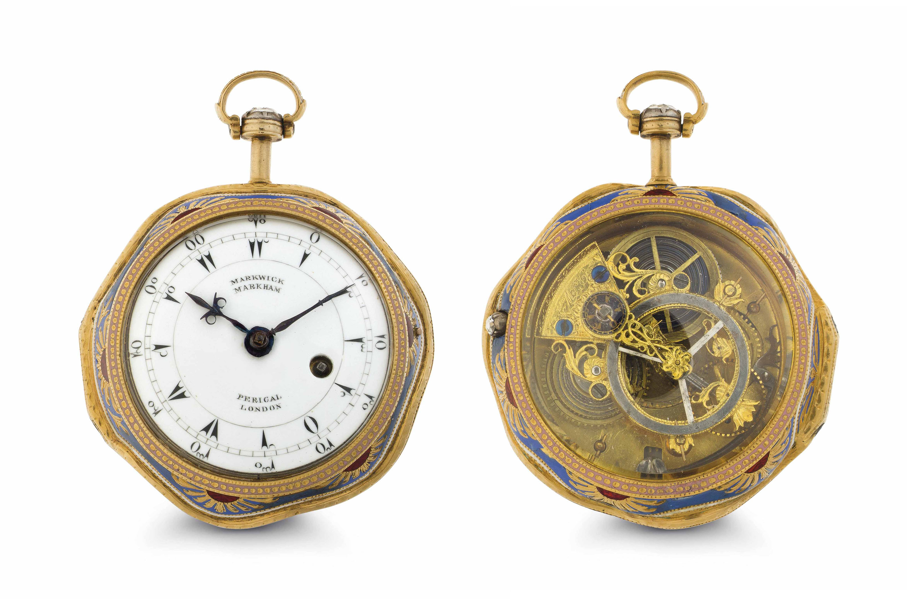 Markwick Markham and Robert Ward. An 18k Gold and Enamel Openface Skeletonized Keywound Verge Watch Made for the Turkish Market