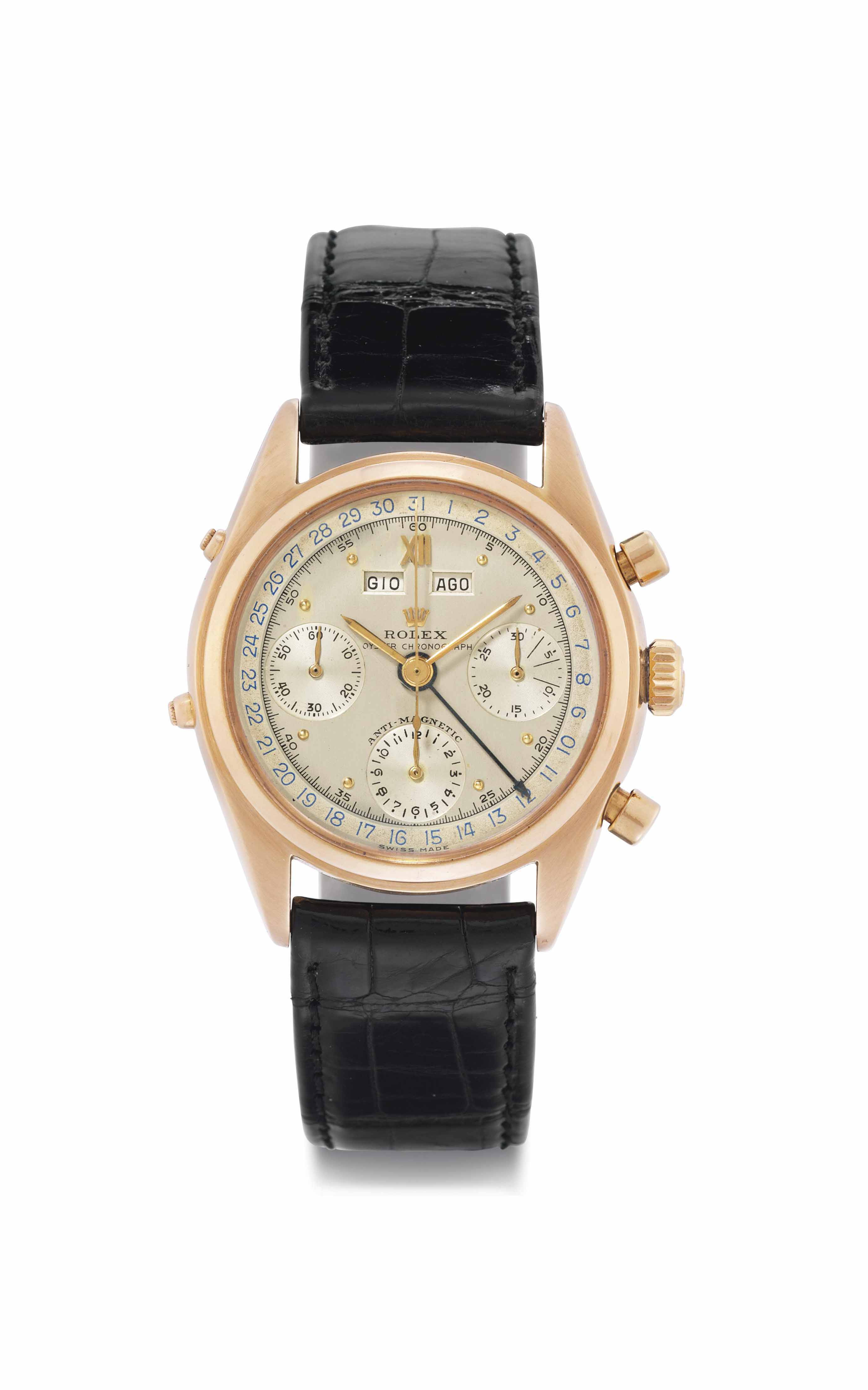 Rolex. A Very Fine and Extremely Rare 18k Pink Gold Triple Calendar Chronograph Wristwatch with Two-Tone Silvered Dial Made for the Italian Market