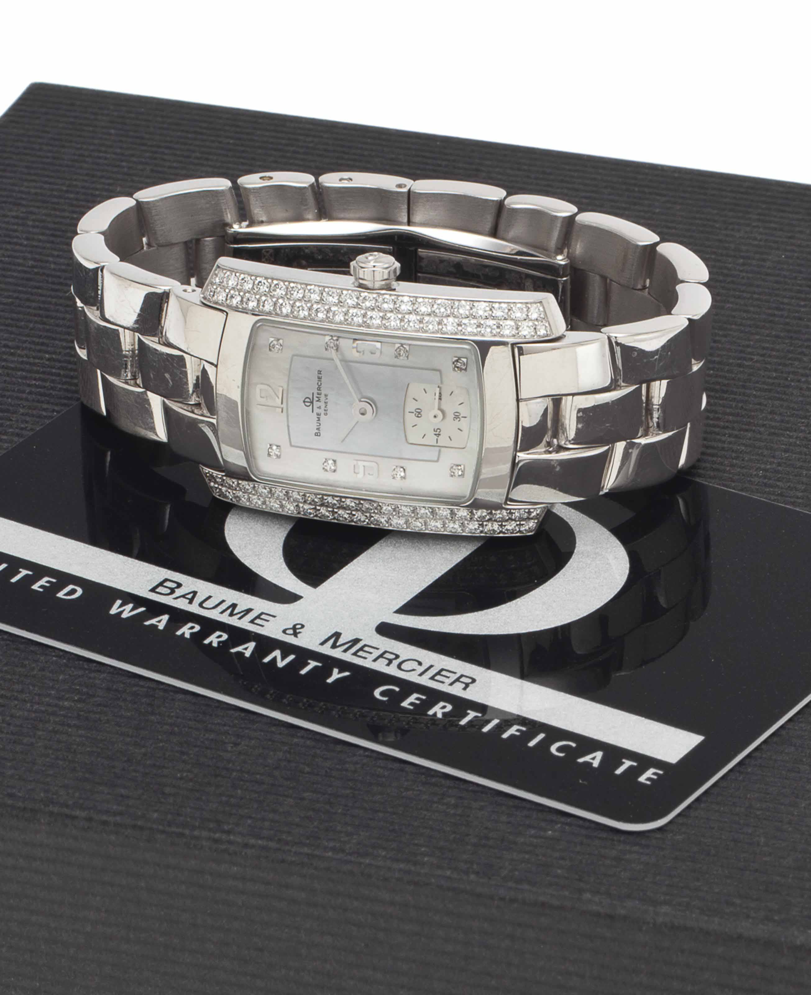 Baume & Mercier. A Lady's Fine 18k White Gold, Mother-of-Pearl and Diamond-set Wristwatch with Bracelet