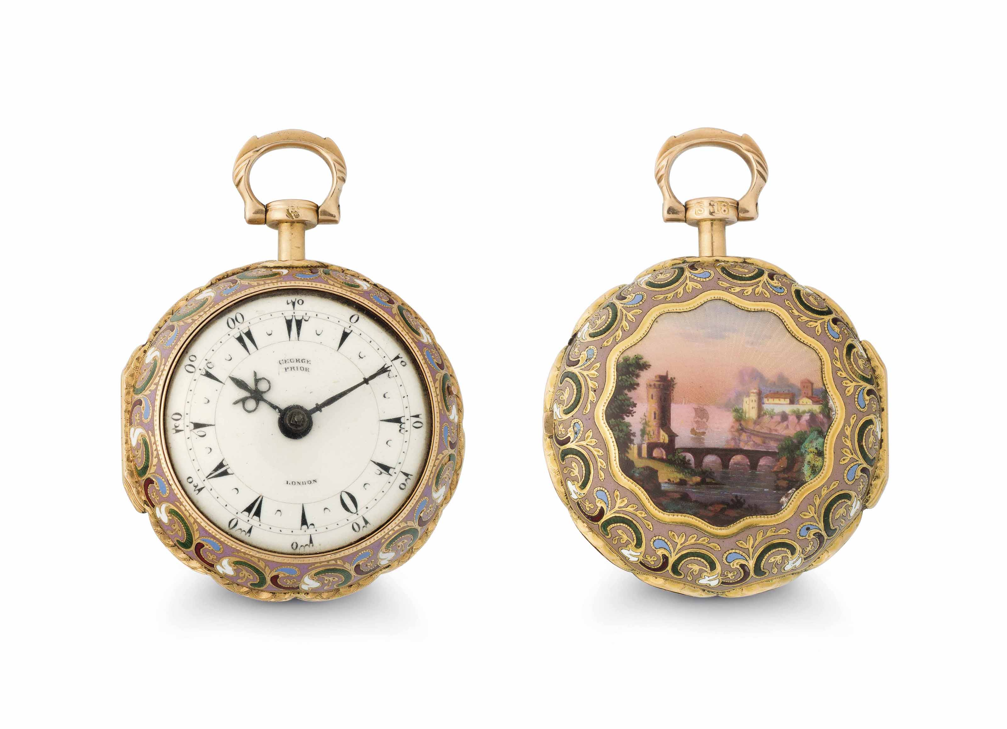 George Prior. A Fine 18k Gold and Enamel Openface Pair-Case Verge Watch Made for the Turkish Market