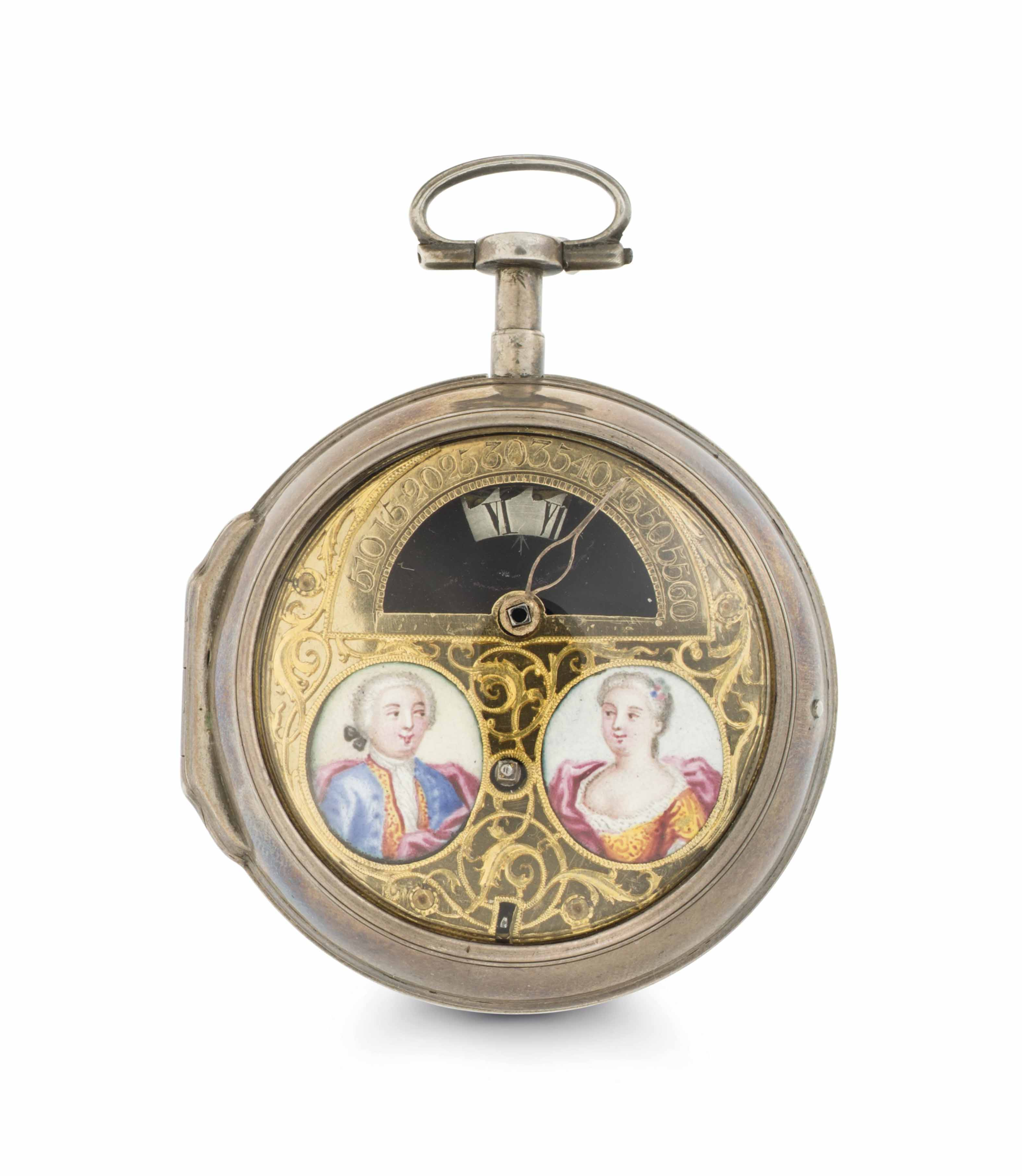 Ellicot. A Rare and Early Silver Openface Wandering Hour Verge Watch with Enamel Miniatures