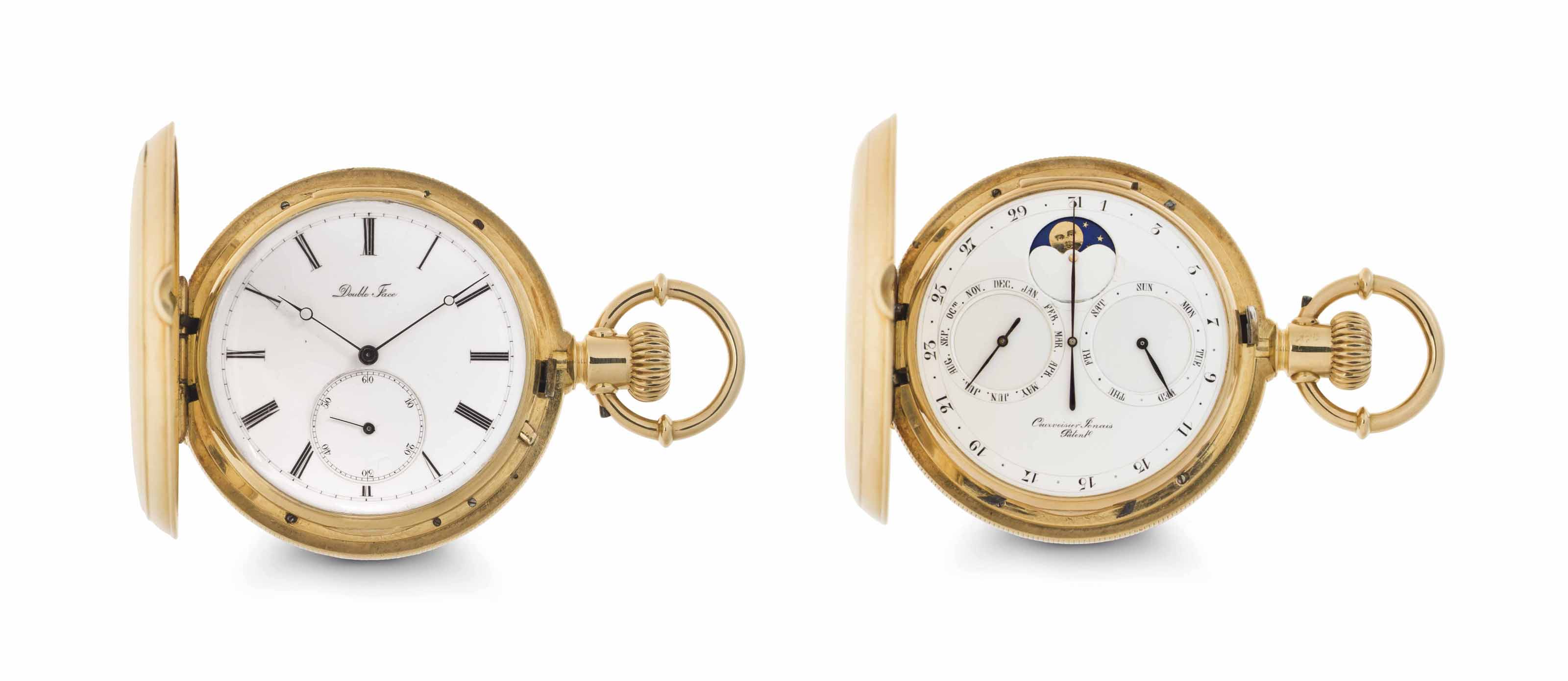 Courvoisier. A Fine and Rare 18k Gold Hunter Case Double Dial Keyless Lever Watch with Day, Date, Month and Moon Phases in An American Case