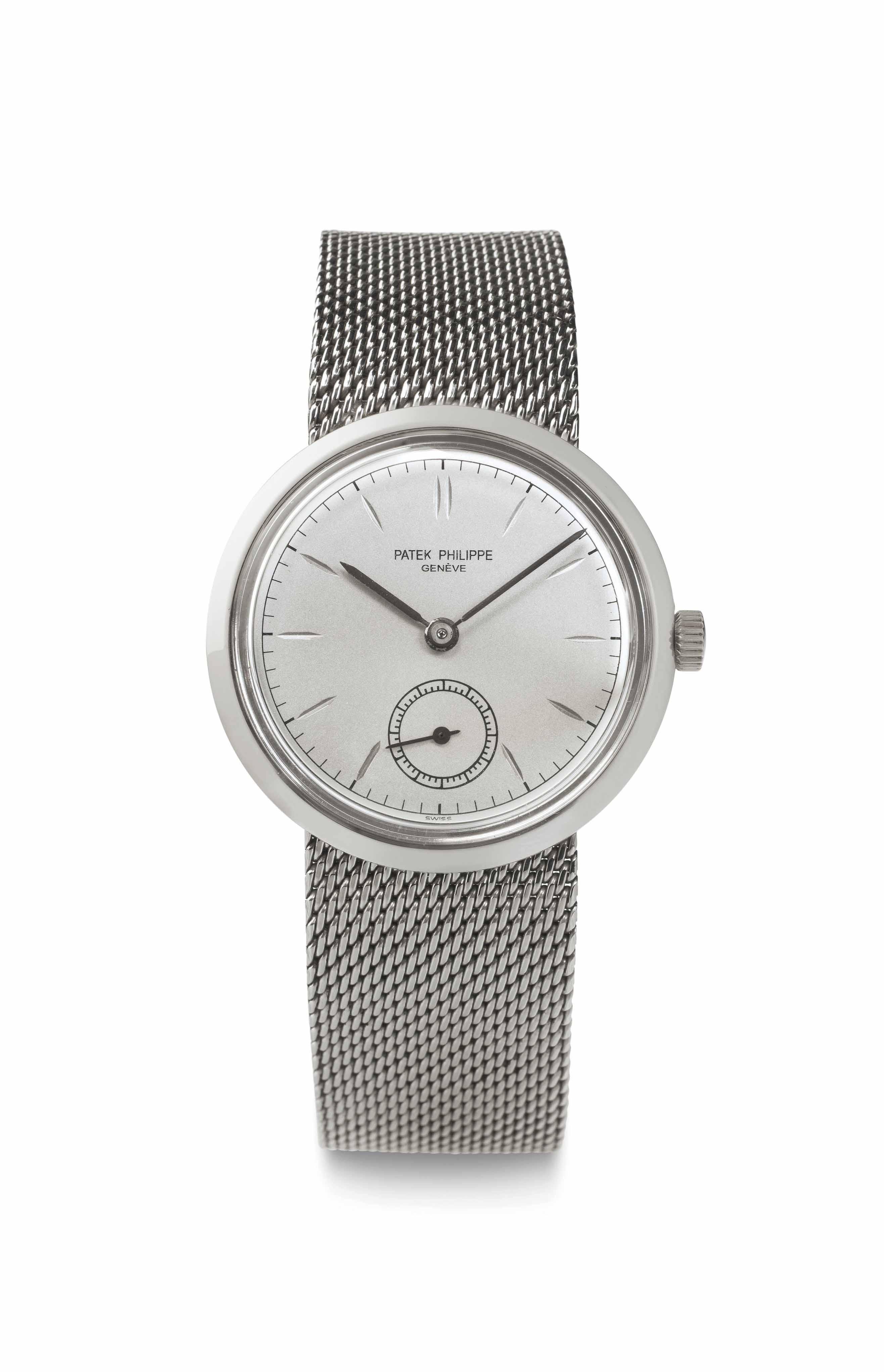Patek philippe a stainless steel wristwatch signed patek philippe geneve ref 3418 for Patek philippe geneve