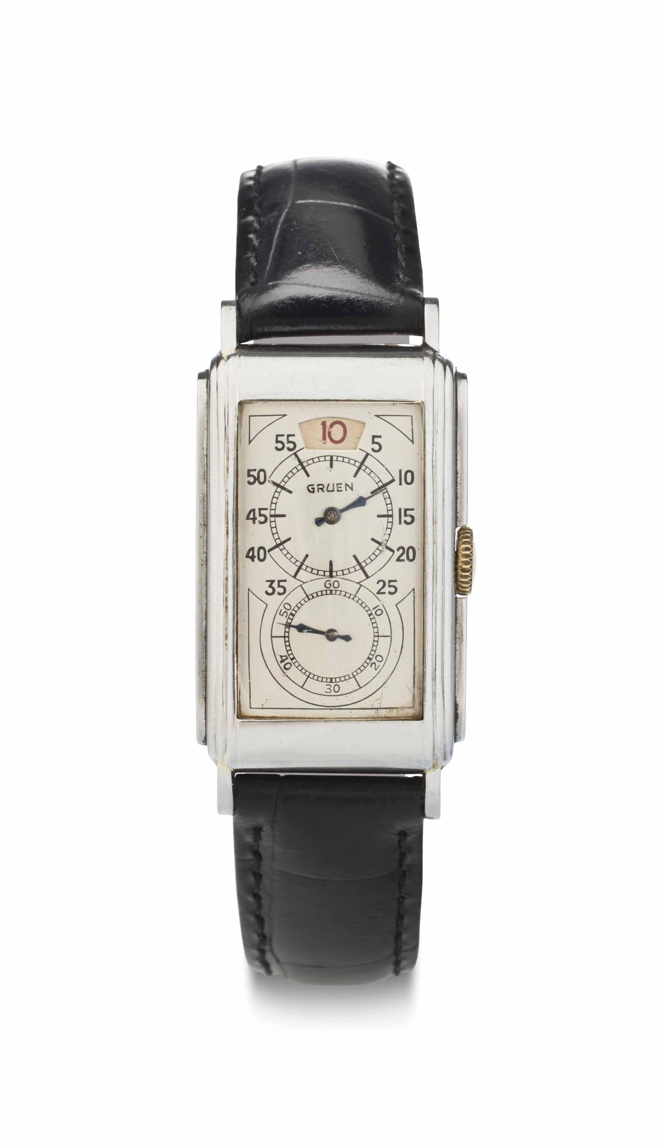 Gruen. A Stainless Steel Jump Hour Wristwatch