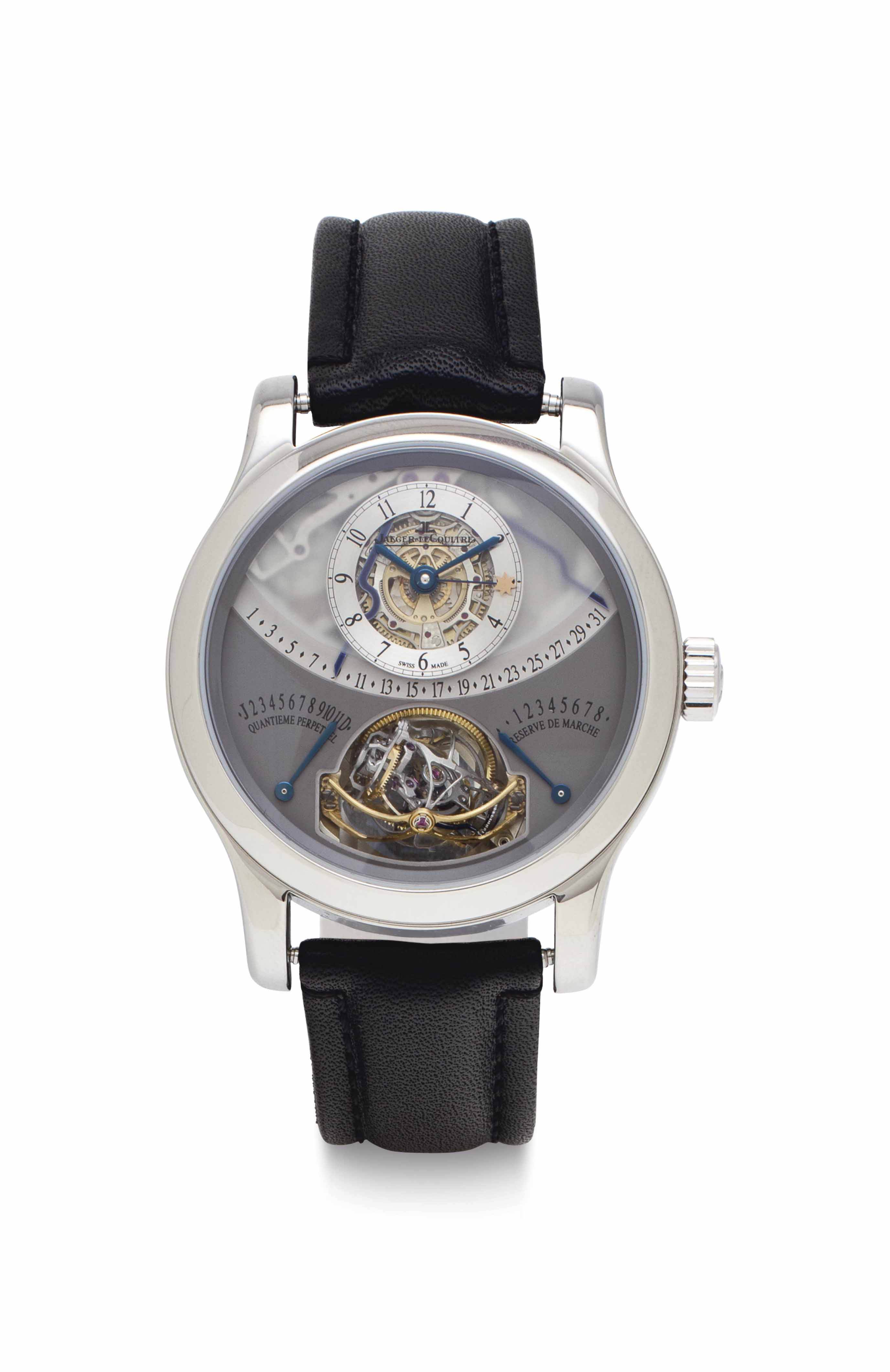 Jaeger-LeCoultre. A Fine and Rare Limited Edition Platinum Perpetual Calendar Multi-Axis Spherical Tourbillon Wristwatch with Retrograde Day, Month and Leap Years, 8 Day Power Reserve Indication and Equation of Time