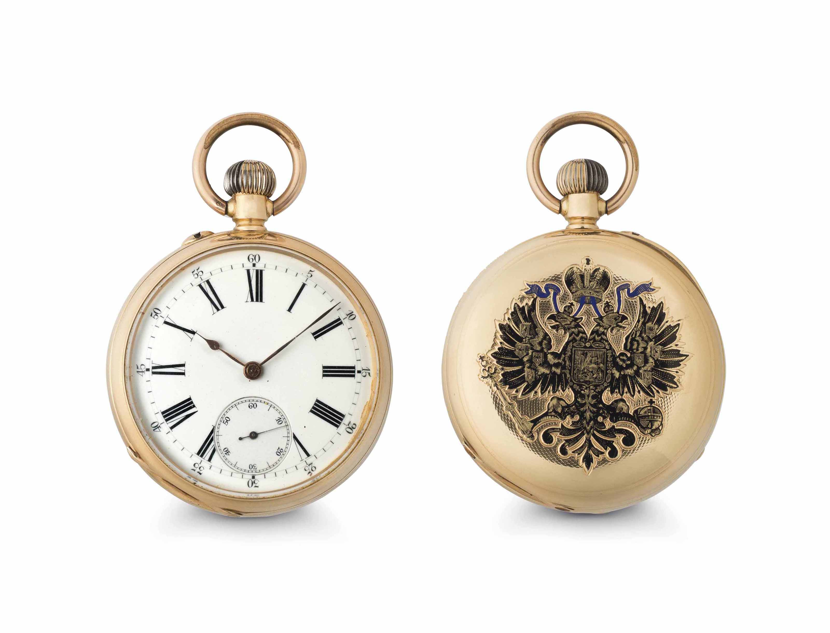 Pavel Buhre. A Fine 14k Pink Gold and Enamel Openface Keyless Lever Pocket Watch