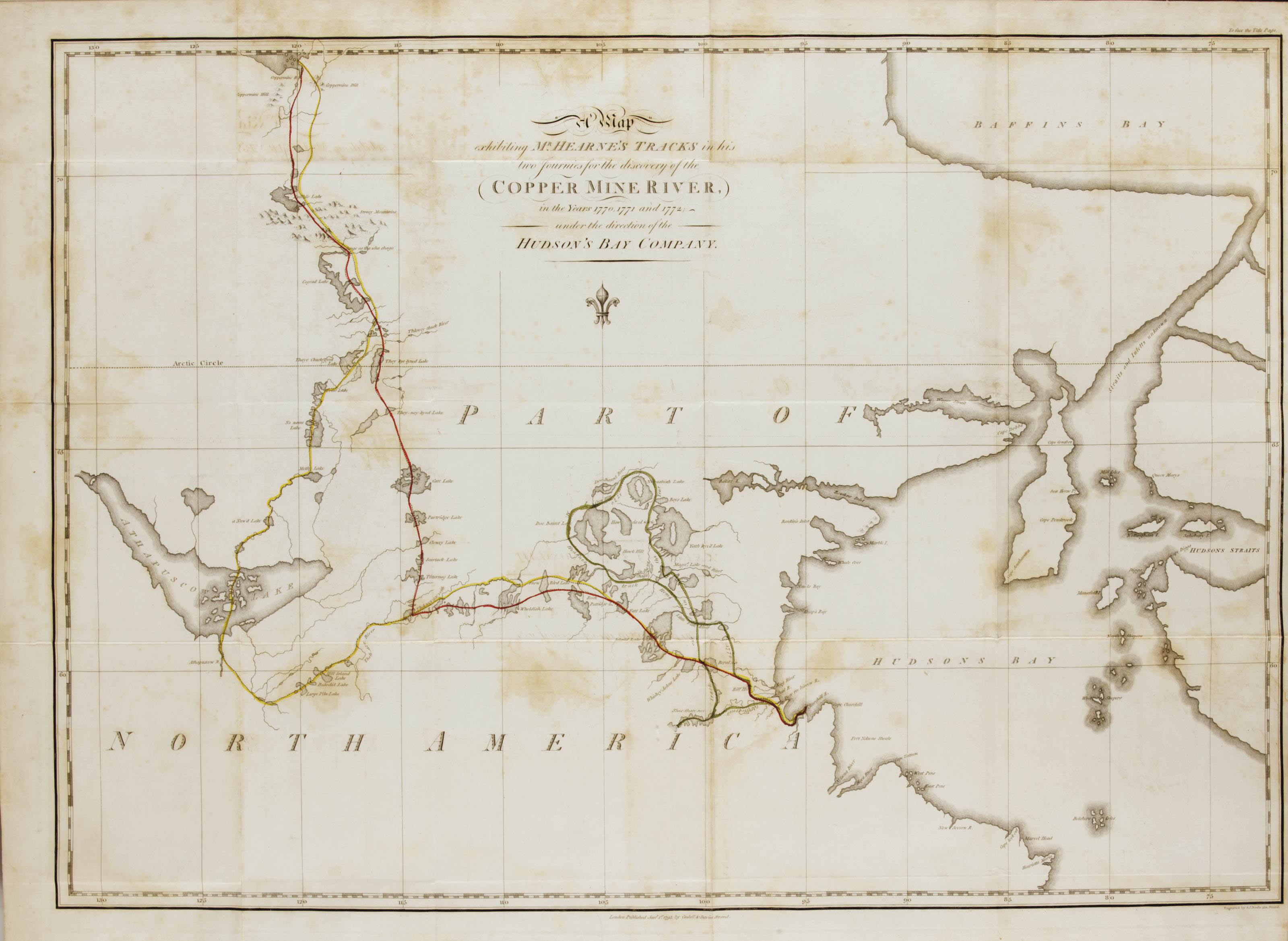 HEARNE, Samuel (1745-1792). A Journey from Prince of Wales's Fort in Hudson's Bay, to the Northern Ocean. Undertaken by Order of The Hudson's Bay Company, for the Discovery of Copper Mines, A North West Passage, &c. In the Years 1769, 1770, 1771, & 1772. London: Printed for A. Strahan and T. Cadell for T. Cadell and W. Davies, 1795.