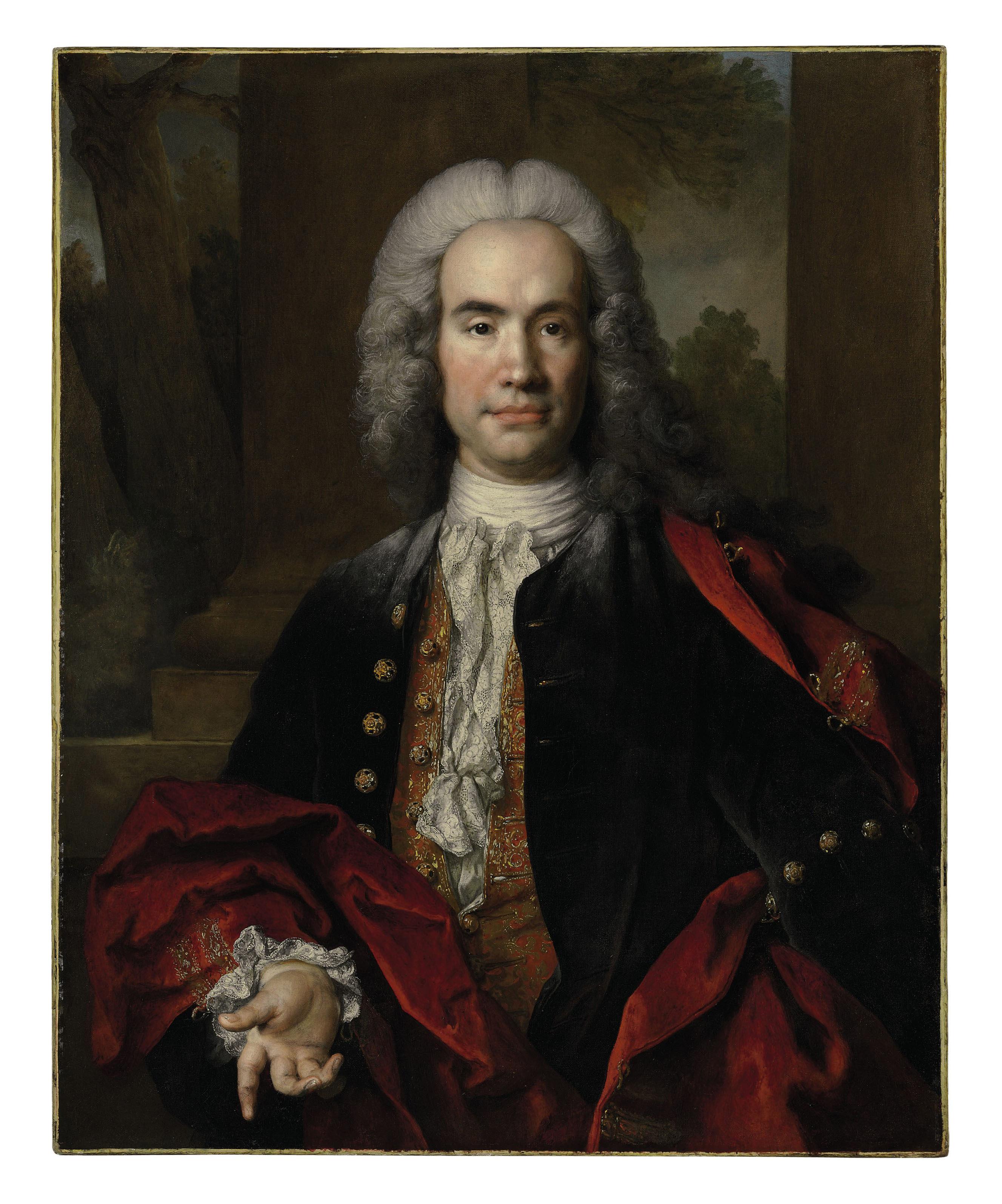 Portrait of Gaspard Gédéon Pétau, Seigneur de Maulette, half-length, in an embroidered blue waistcoat and a red velvet cape