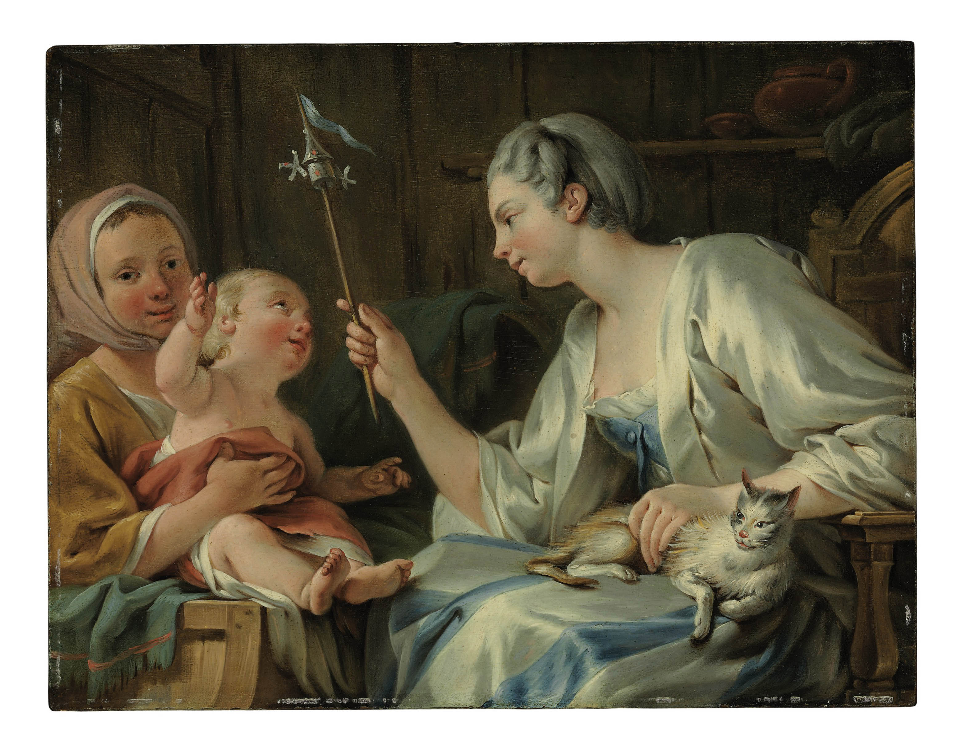 A Lady entertaining a child of a Savoyard woman with a pinwheel