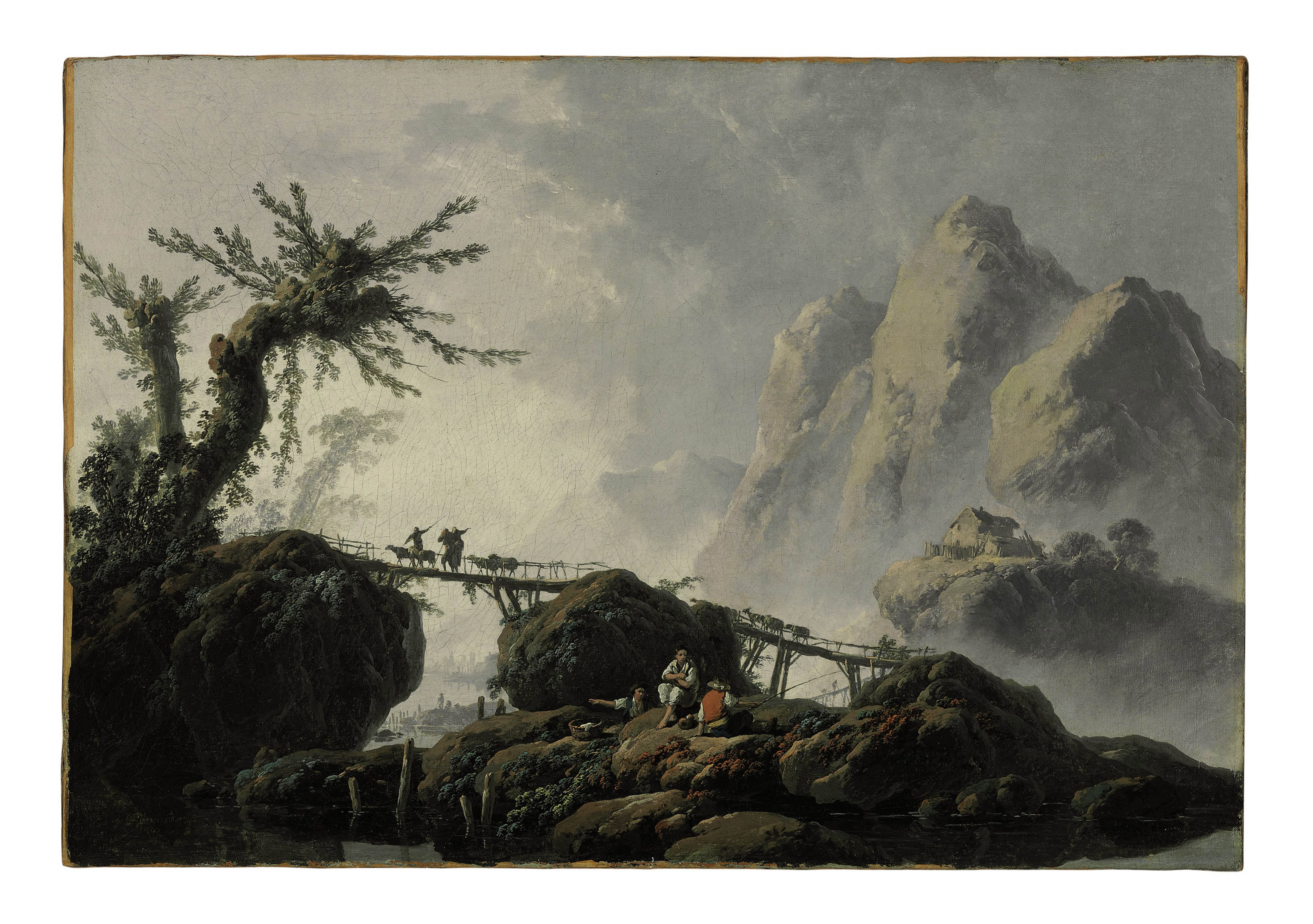 A mountainous landscape with goatherds crossing a bridge