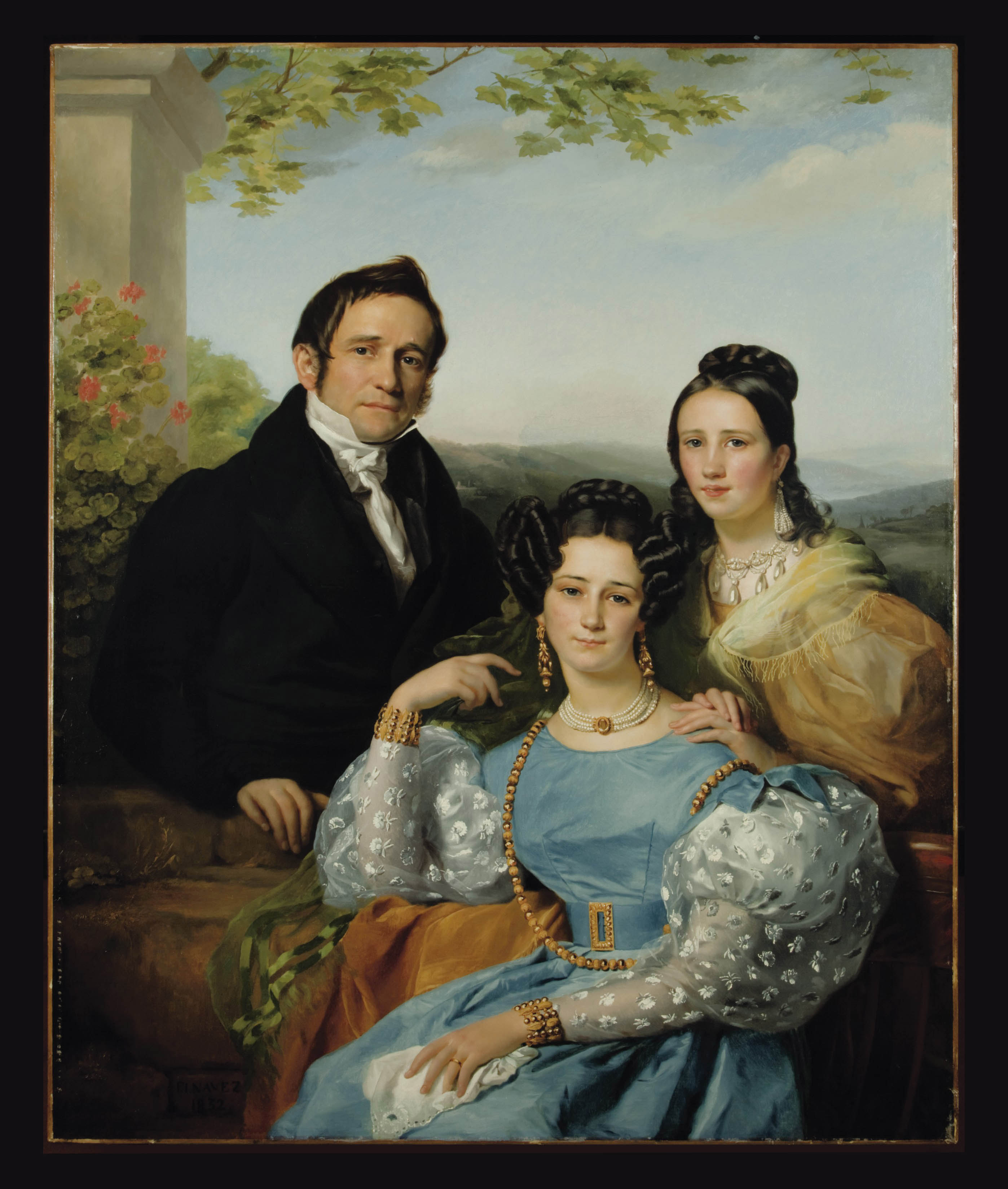 Portrait of Théodore Joseph Jonet and his two daughters