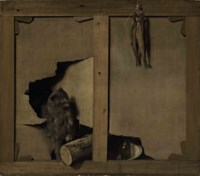 A trompe-l'oeil with a cat and a wooden log through a canvas, fish hanging from the stretcher