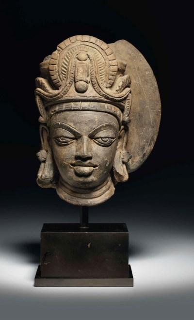 A terracotta head of a divinit