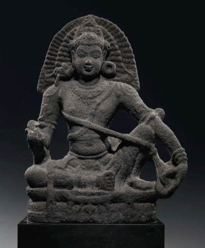 A stone figure of Ayyanar