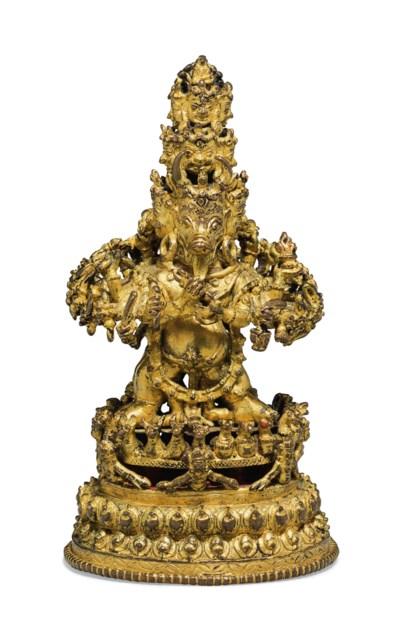 A gilt bronze figure of Vajrab