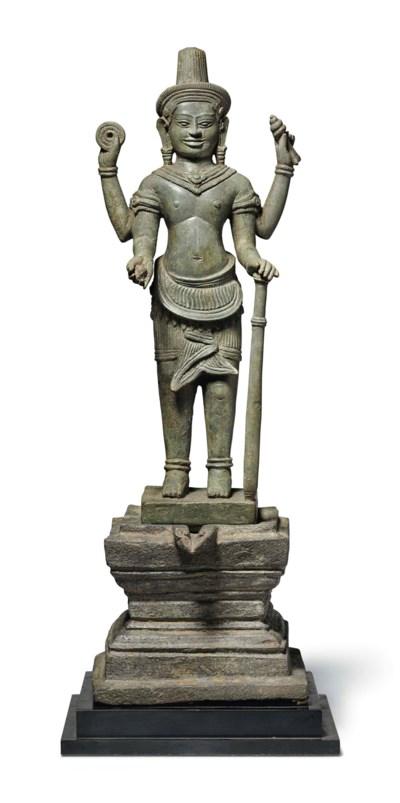 A bronze figure of Vishnu