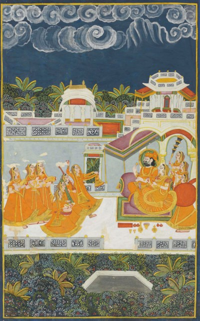 A painting of a palace scene