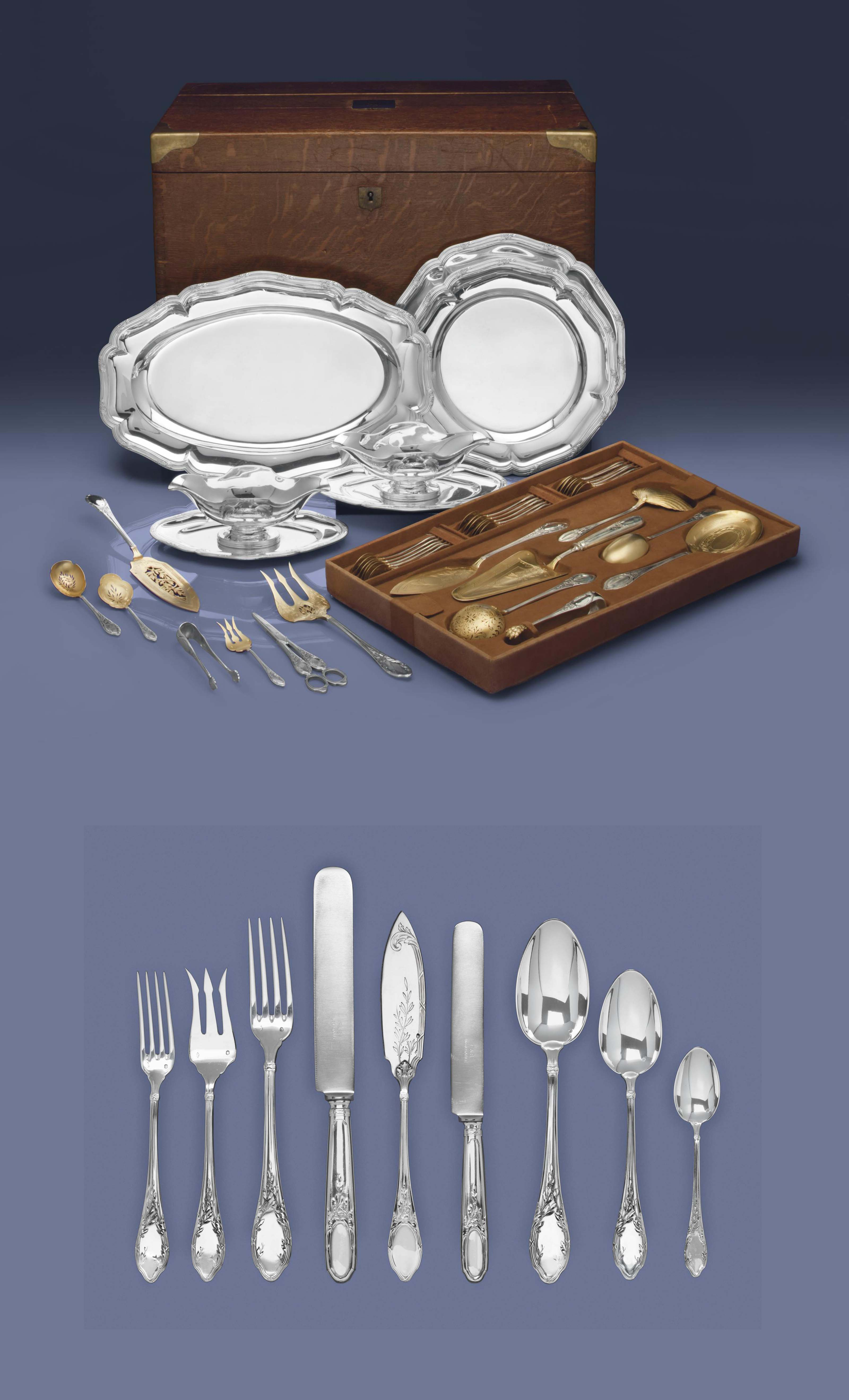 A FRENCH SILVER DINNER AND TAB