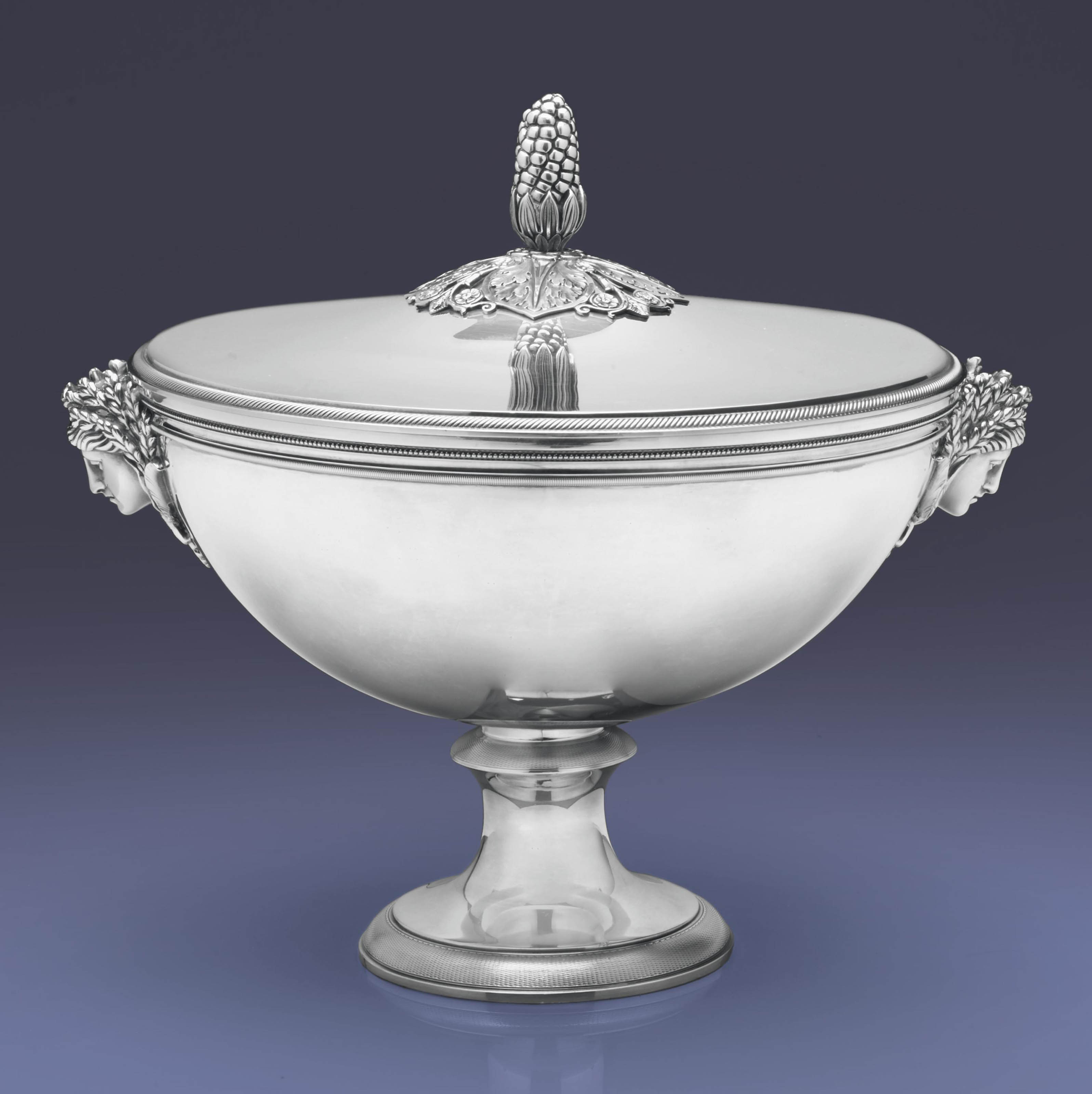 A FRENCH SILVER SOUP TUREEN