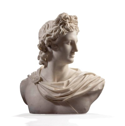 A WHITE MARBLE BUST OF APOLLO