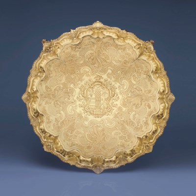 A LARGE WILLIAM IV SILVER-GILT