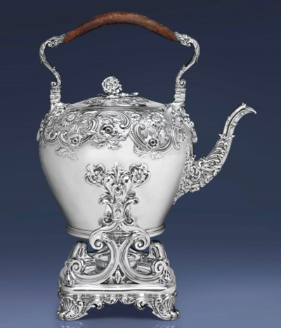 A GEORGE IV SILVER KETTLE-ON-S