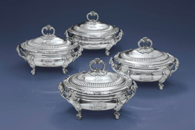 A SET OF FOUR REGENCY SILVER S