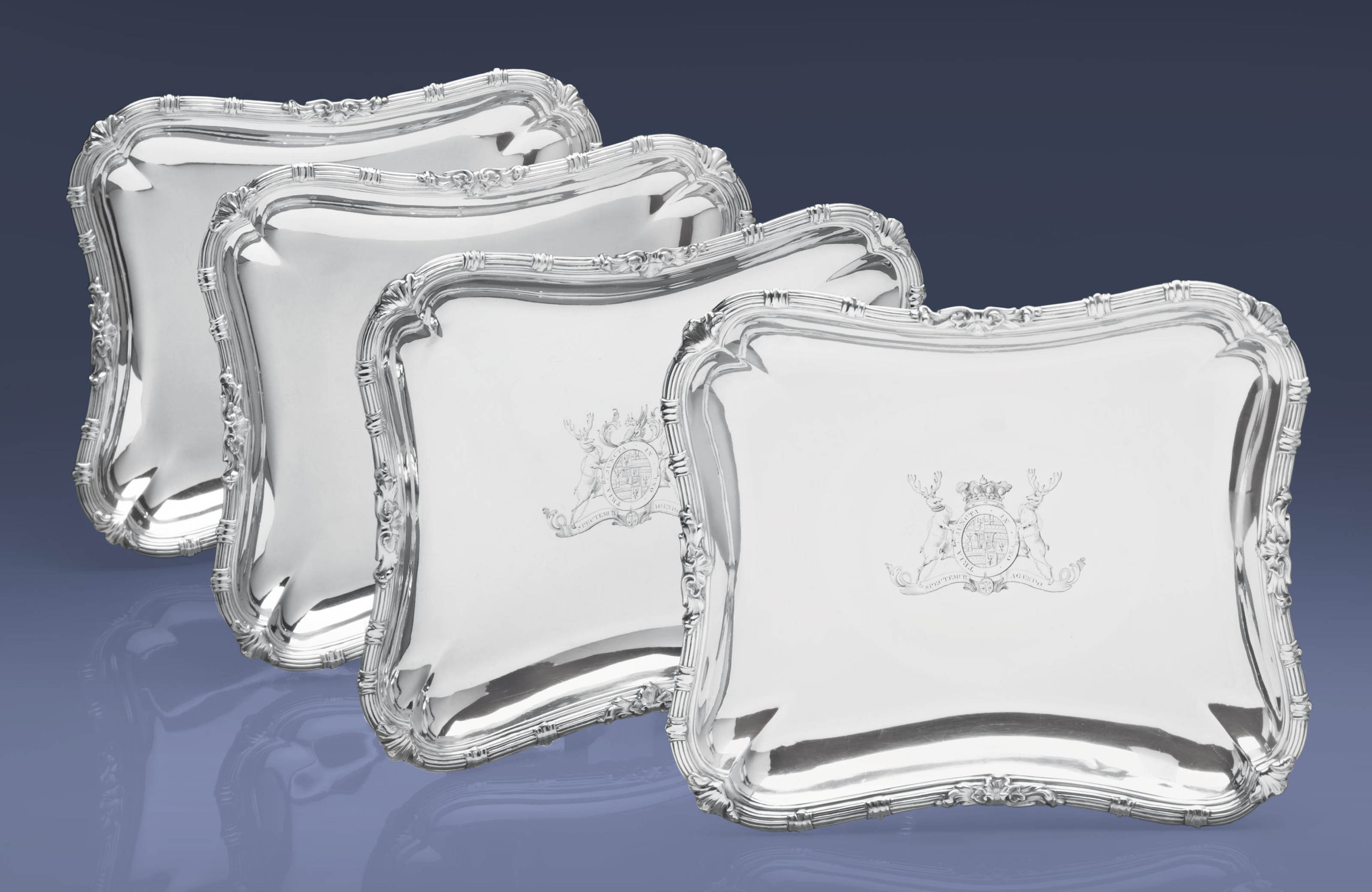 A SET OF FOUR GEORGE III SILVER VEGETABLE DISHES