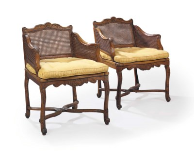 A PAIR OF REGENCE WALNUT, BEEC