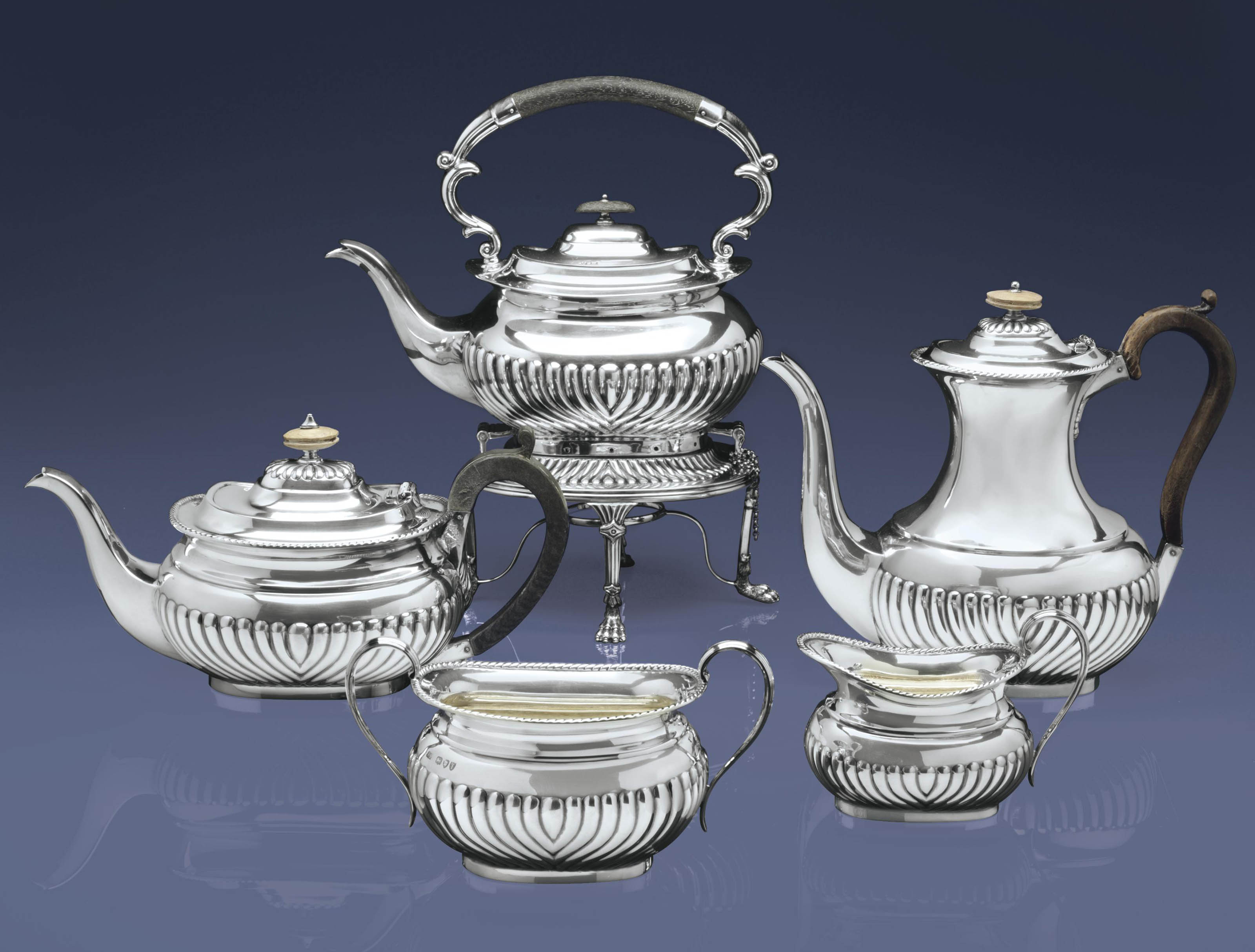 A VICTORIAN SILVER FOUR-PIECE TEA AND COFFEE SERVICE