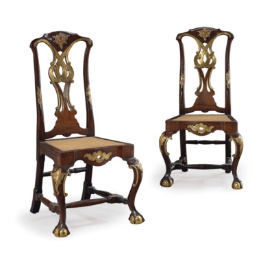 A PAIR OF SPANISH WALNUT AND P