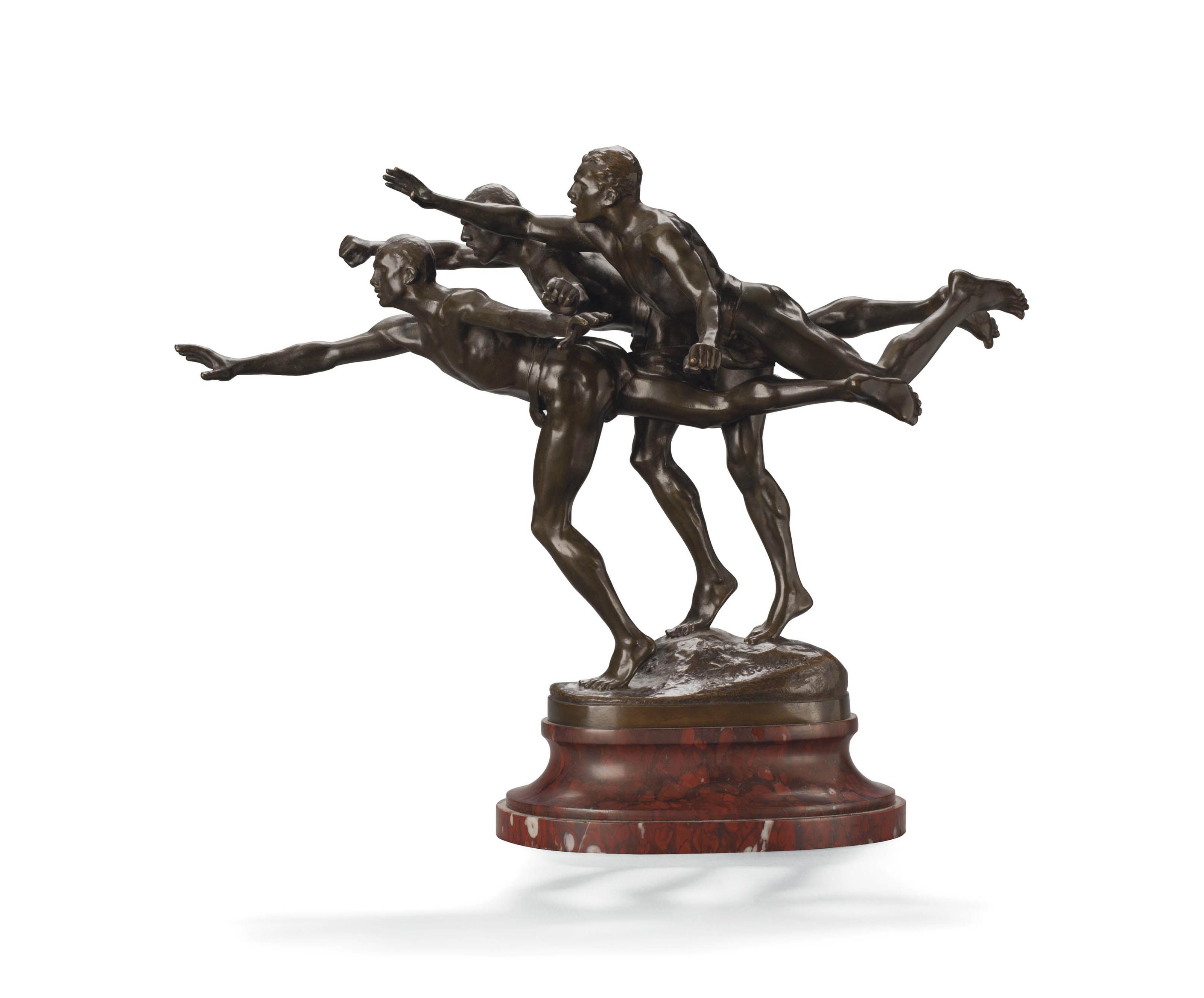 A FRENCH PATINATED-BRONZE FIGURAL GROUP, ENTITLED 'AU BUT'
