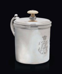 A RUSSIAN SILVER COVERED SHAVING POT