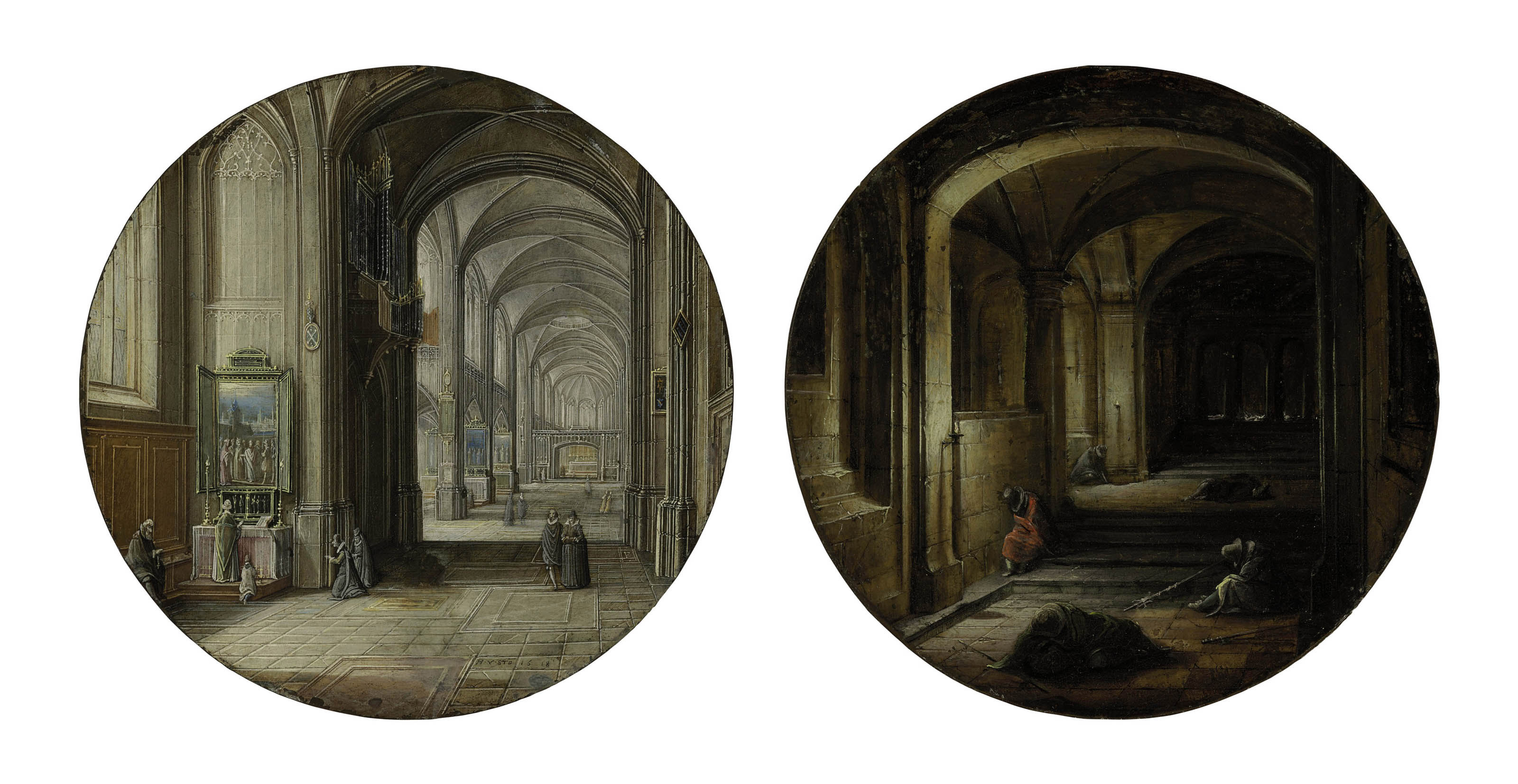 A church interior; and 'The Vaults'