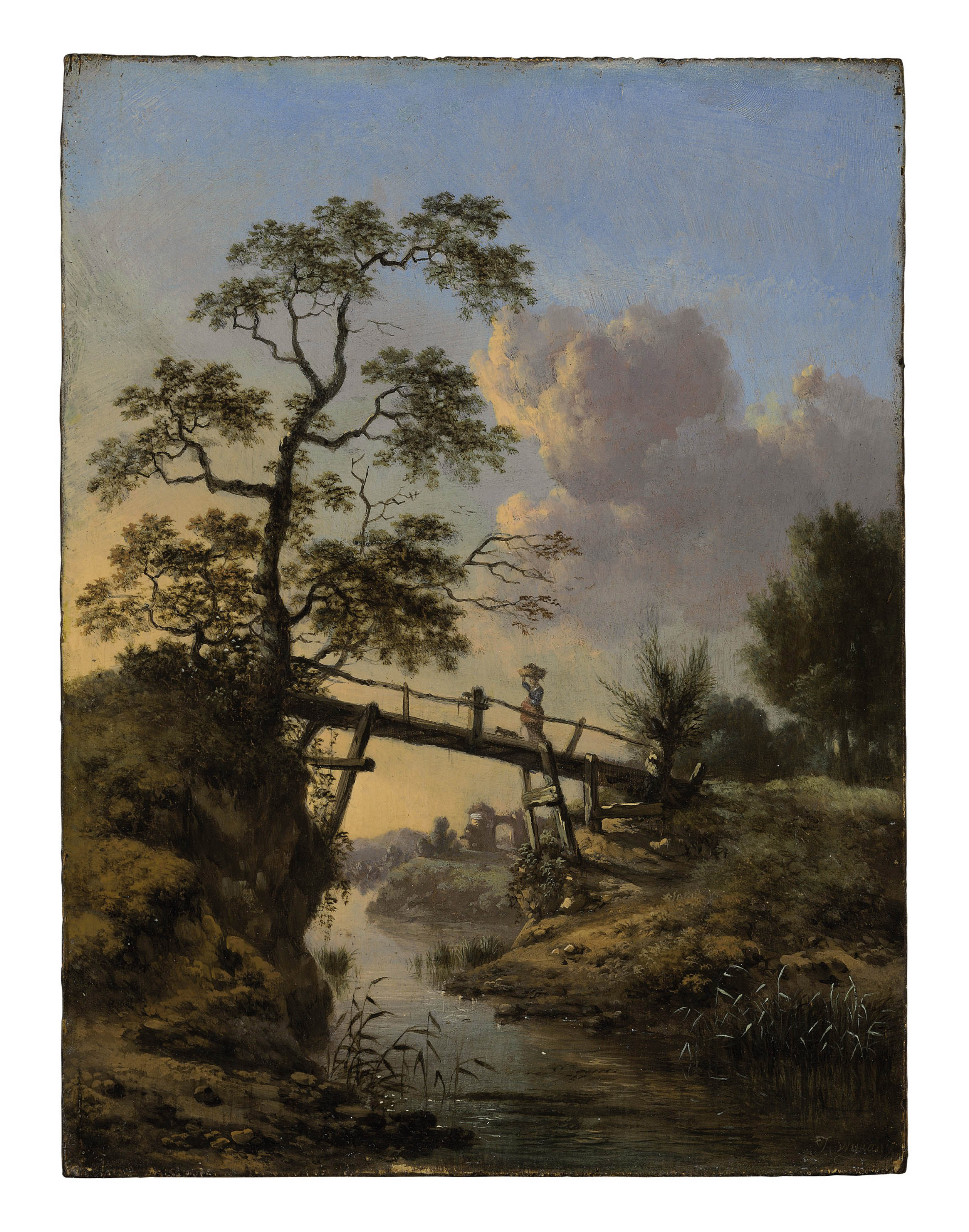 A stream with a peasant woman crossing a footbridge