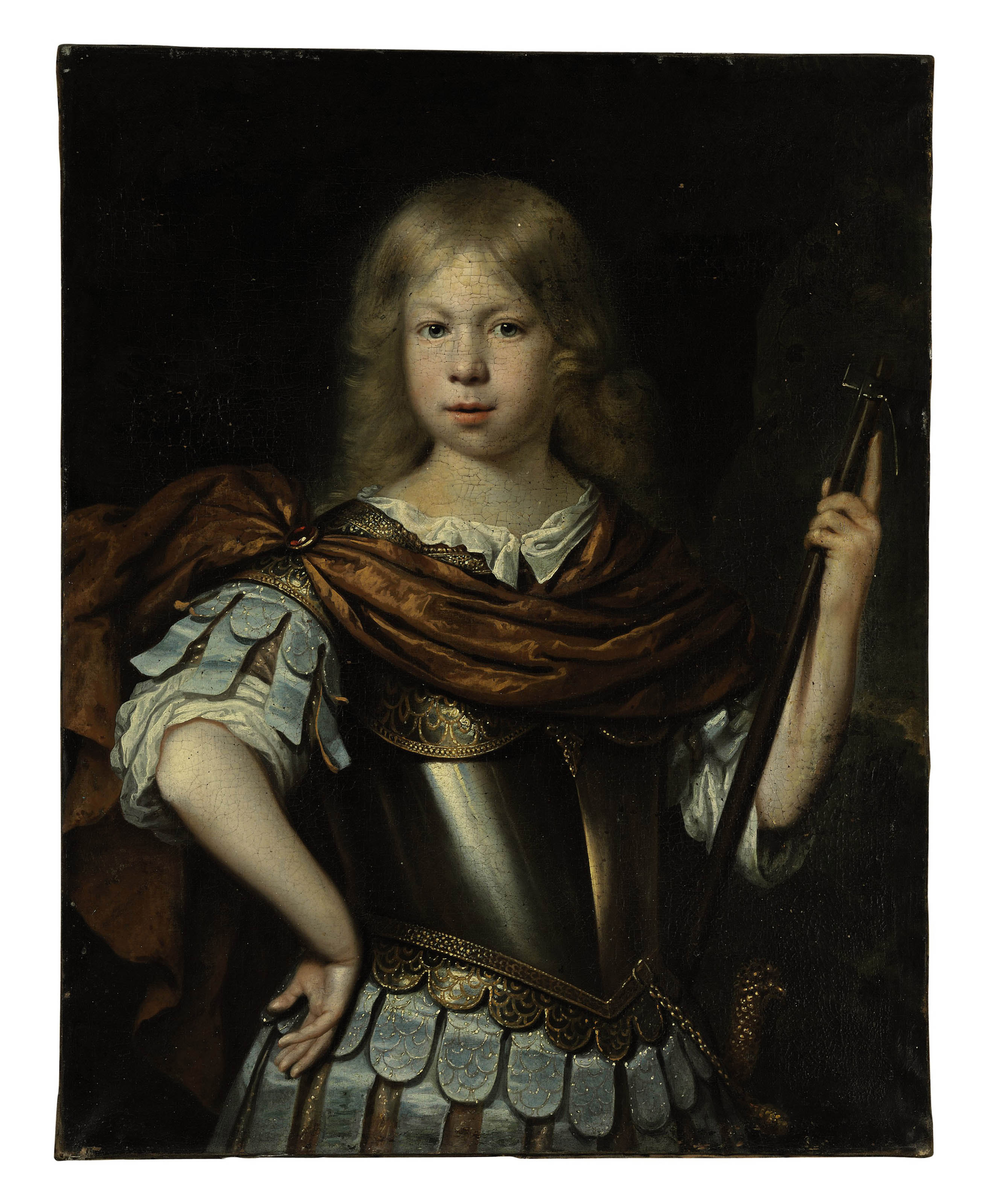 Portrait of a boy, possibly Willem van Liere (1653-1706), as Mars, in classical dress with a cuirass, sword and halberd, in a landscape