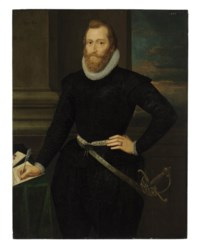 Portrait of a gentleman, formerly identified as Sir Walter Raleigh, three-quarter-length, in black standing by a table