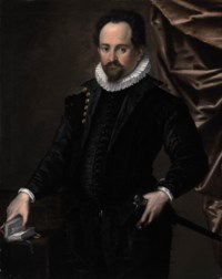 Portrait of a gentleman, half-lengh, in an embroidered black doublet and white ruff, standing by a table, his right hand on a book and his left on his sword, by a draped curtain