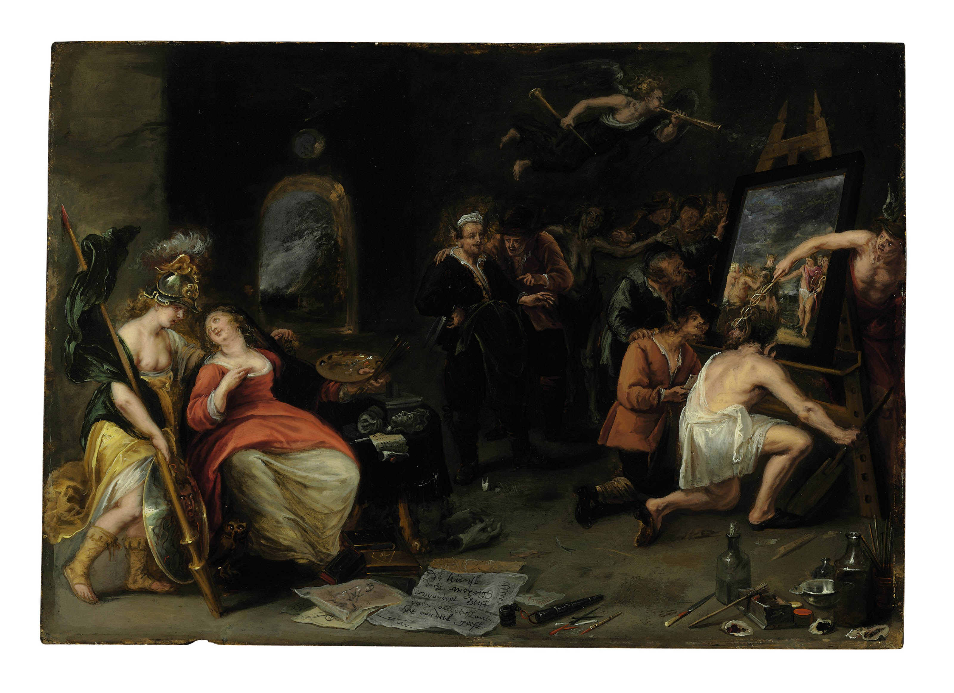 Minerva and Mercury protecting Painting against Ignorance and Calumny