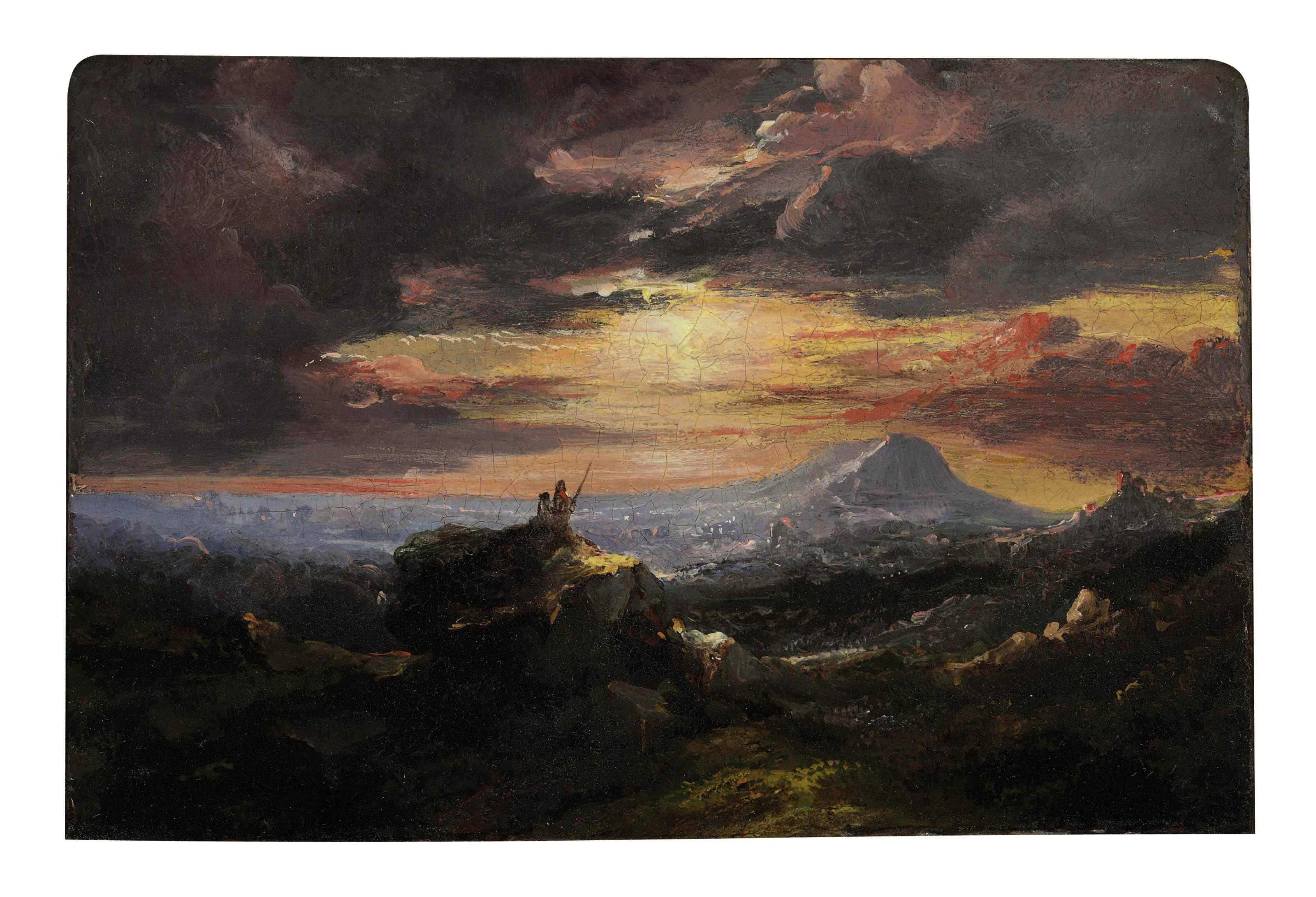 Mountainous landscape at sunset